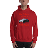 Gildan Hooded Sweatshirt: 3000 MK II red text