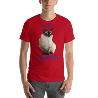Bella and Canvas Short-Sleeve Unisex T-Shirt: kneads me Siamese blue text