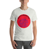 Bella and Canvas Short-Sleeve Unisex T-Shirt: Round Tuit blue text on red