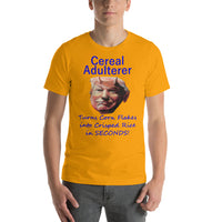 Bella and Canvas Short-Sleeve Unisex T-Shirt: Cereal adulterer blue text