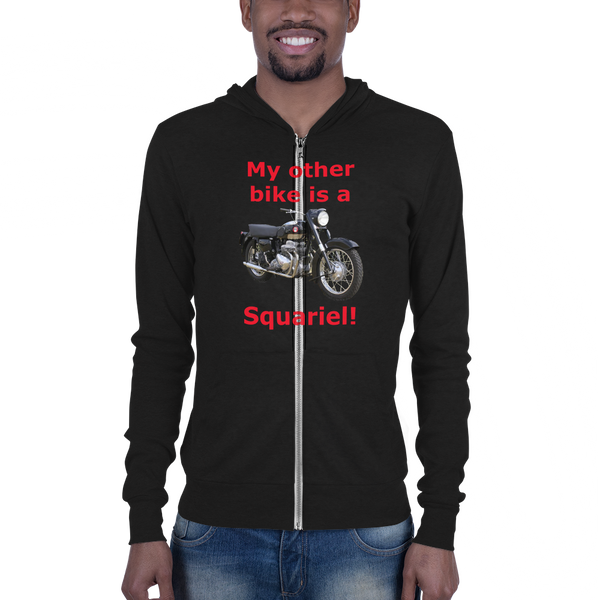 B & C Unisex zip hoodie: Squariel red text