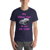 Bella and Canvas Short-Sleeve Unisex T-Shirt: XK 150 magenta text
