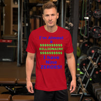 Bella and Canvas Short-Sleeve Unisex T-Shirt: Billionaire blue text