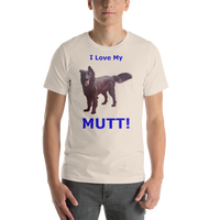 Bella and Canvas Short-Sleeve Unisex T-Shirt: Mutt blue text