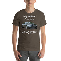 Bella and Canvas Short-Sleeve Unisex T-Shirt: Other car Vanquish white text