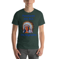 Bella and Canvas Short-Sleeve Unisex T-Shirt: immigrants blue text