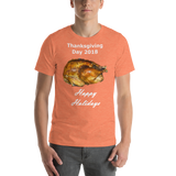 Bella and Canvas Short-Sleeve Unisex T-Shirt: Thanksgiving 2018 roast white text