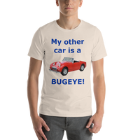 Bella and Canvas Short-Sleeve Unisex T-Shirt: Bugeye blue text