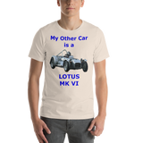 Bella and Canvas Short-Sleeve Unisex T-Shirt: Lotus MK VI blue text