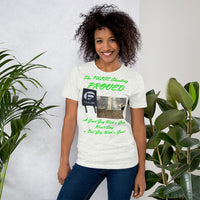 Bella and Canvas Short-Sleeve Unisex T-Shirt: Pulse green text