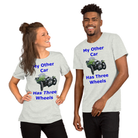 Bella and Canvas Short-Sleeve Unisex T-Shirt:Three wheels blue text