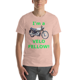 Bella and Canvas Short-Sleeve Unisex T-Shirt: Velo Fellow green text