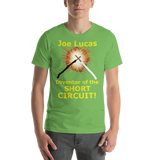 Bella and Canvas Short-Sleeve Unisex T-Shirt: Joe Lucas inventor of the short circuit yellow text