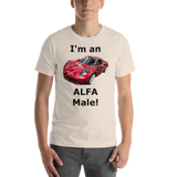 Bella and Canvas Short-Sleeve Unisex T-Shirt: Alfa Male black text