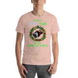 Bella and Canvas Short-Sleeve Unisex T-Shirt: Cool Yule green text
