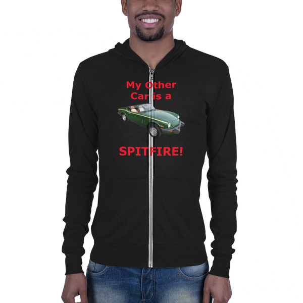 Bella and Canvas Unisex zip hoodie: Spitfire red text