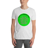 Gildan Short-Sleeve Unisex T-Shirt: Rount Tuit magenta text on green I not you