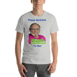 Bella and Canvas Short-Sleeve Unisex T-Shirt: Happy birthday blue text