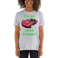 Gildan Short-Sleeve Unisex T-Shirt: Alfa Female green text