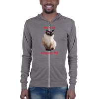 B & C Unisex zip hoodie: My cat kneads me Siamese red text
