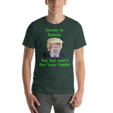 Bella and Canvas Short-Sleeve Unisex T-Shirt: Candy is dandy 45 green text