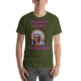 Bella and Canvas Short-Sleeve Unisex T-Shirt: immigrants magenta text