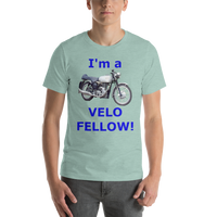 Bella and Canvas Short-Sleeve Unisex T-Shirt: Velo Fellow blue text