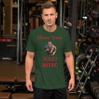 Bella and Canvas Short-Sleeve Unisex T-Shirt: ROTC red text