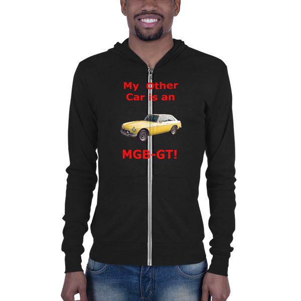 B & C Unisex zip hoodie: MGB-GT red text