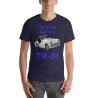 Bella and Canvas Short-Sleeve Unisex T-Shirt: TR-3 blue text