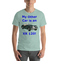 Bella and Canvas Short-Sleeve Unisex T-Shirt: XK 120 blue text