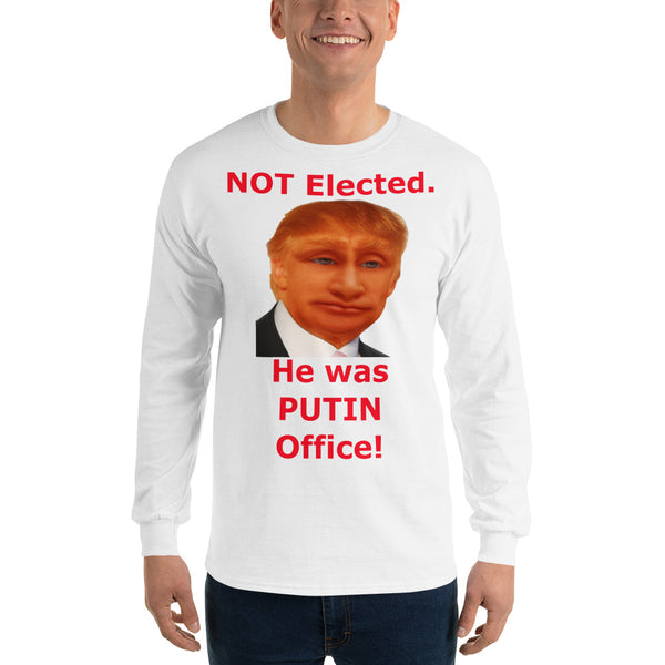 Gildan Long Sleeve T-Shirt: Putin office 2 red text