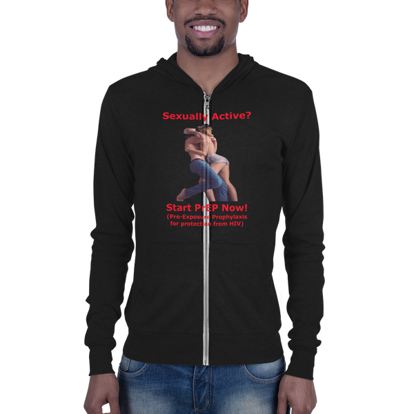 B & C Unisex zip hoodie: Sexually Active red text