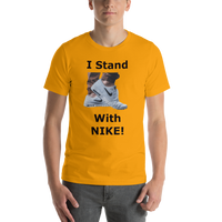 Bella and Canvas Short-Sleeve Unisex T-Shirt: I stand with Nike black text