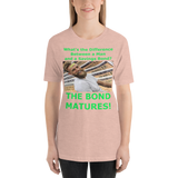 Bella and Canvas Short-Sleeve Unisex T-Shirt: Difference man bond green text