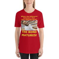 Bella and Canvas Short-Sleeve Unisex T-Shirt: Difference man bond yellow text