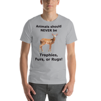 Bella and Canvas Short-Sleeve Unisex T-Shirt: Animals should NEVER be black text