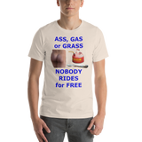 Bella and Canvas Short-Sleeve Unisex T-Shirt: ass gas or grass blue text
