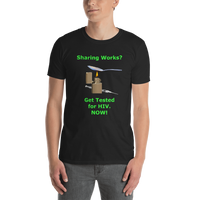 Gildan Short-Sleeve Unisex T-Shirt: Sharing Works green text