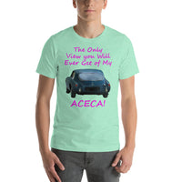 Bella and Canvas Short-Sleeve Unisex T-Shirt: Only view Aceca magenta text