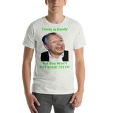 Bella and Canvas Short-Sleeve Unisex T-Shirt: Candy is Dandy OWM Green Text