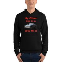 Bella and Canvas Unisex hoodie: 3000 MK II red text
