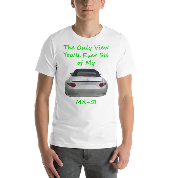 Bella and Canvas Short-Sleeve Unisex T-Shirt: Only view MX-5 green text