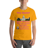 Bella and Canvas Short-Sleeve Unisex T-Shirt: Help Wanted Magenta Text