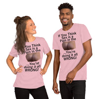 Bella and Canvas Short-Sleeve Unisex T-Shirt: Sex is a PITA black text