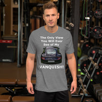 Bella and Canvas Short-Sleeve Unisex T-Shirt: Only view Vanquish white text