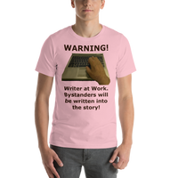 Bella and Canvas Short-Sleeve Unisex T-Shirt: Writer at work kb only brown text