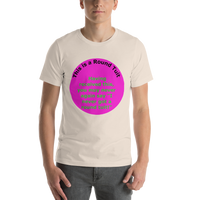 Bella and Canvas Short-Sleeve Unisex T-Shirt: Round Tuit green text on magenta