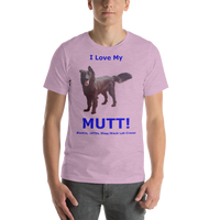 Bella and Canvas Short-Sleeve Unisex T-Shirt: Mutt added blue text