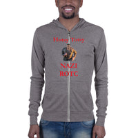 Bella and Canvas Unisex zip hoodie: ROTC red text